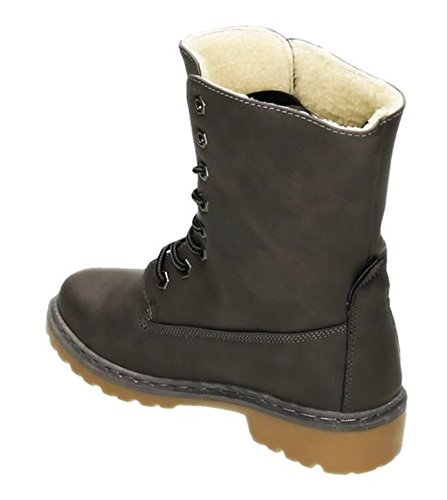 King Of Shoes Bequeme Damen Stiefeletten Worker Schnürboots Outdoor Ankle Halbschaft Wadenhohe Stiefel Blockabsatz Warm Gefüttert 101 Grau