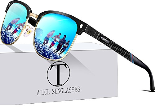 Rimless Metal Frame (ATTCL Men's Driving Polarized Rimless Wayfarer Sunglasses Al-Mg Metal Frame Ultra Light 8-188 Blue)