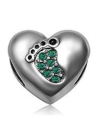 JMQJewelry Heart Love Baby Footprints Jan-Dec Crystal Charms Beads for Bracelets