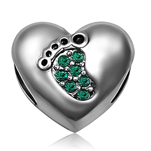 JMQJewelry Love Heart Mom Baby Foot Birthstone May Charms for Bracelets ()