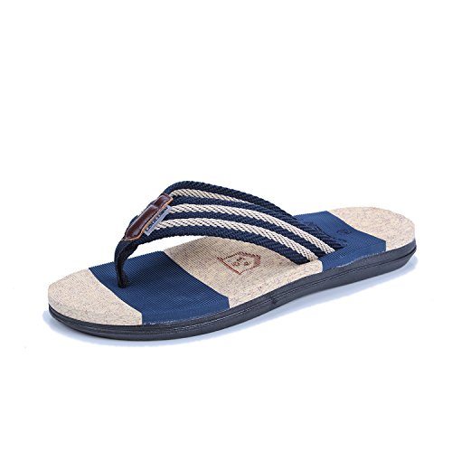 Flops slip Summer Slippers Blue Flip Couple Pinch Dark Shoes Flat Fashion Beach Non w0Ix0Trq