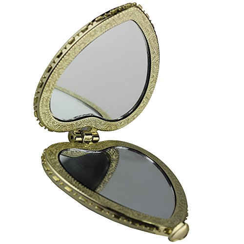 Popfeel Retro Vintage Flower Rose Daisy Round/Oval/Heart Shaped Elegant Compact Double Sided Mirror,3