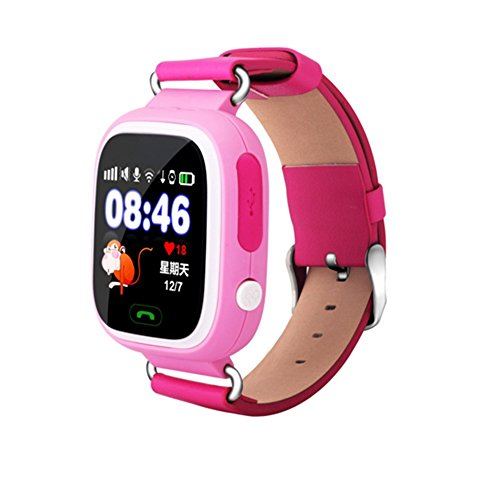 Smart Watches Q90 Smart Watch Kids SOS Alarm Clock GPS WIFI Bluetooth Anti-lost SIM Card For Children's Phone Gift, Pink