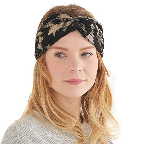 (CHARM Womens Boho Tie Dye Headband - Fashion Turban Headwrap Hippy Yoga Hairband Twist Knot Festival Hair Band D)