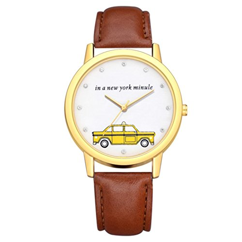 BEUU 2018 Car Gold Dial Leather Strap Watch New Wholesale Price Luxury Fashion Band Analog Quartz Round Wrist Watches Watch Wristwatch Fashion Watches Leather Luxury Mens Women's Casual Steel (F) -