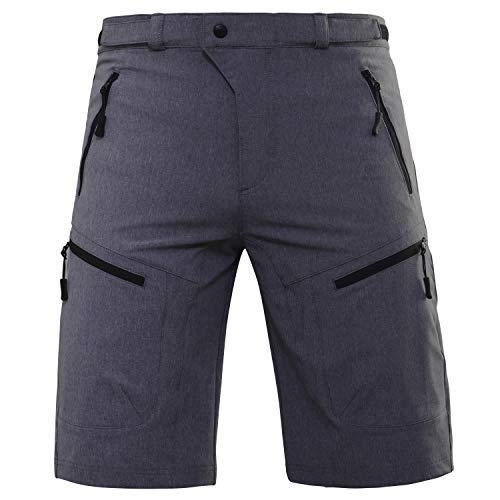 Hiauspor MTB-Cycling-Hiking-Bike-Shorts (Black/Grey M (Waist: 30-32