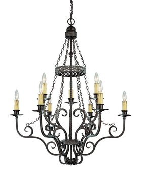 Jeremiah 23629-BA Brookshire Manor 9 Light Chandelier, Burnished Armor - Tuscan Style Chandeliers