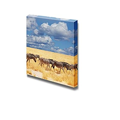 Pretty Piece of Art, With a Professional Touch, A Group of Zebras and Yellow Grass on African Savannah Wall Decor Wood Framed