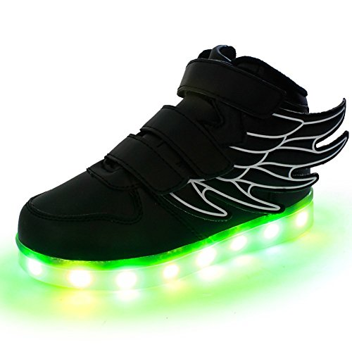 LED Flashing Sneakers Light Up Sport Shoes Student dance Boot with Wing for Boys Girls?Black 11.5 M US Little Kid?