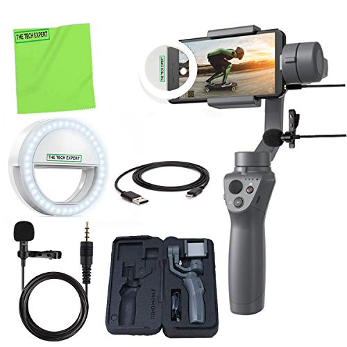 DJI Osmo Mobile 2 Handheld Smartphone Gimbal Stabilizer + Selfie LED Clip-on Cellphone Light + Professional Lavalier Lapel Microphone Vlogging Kit