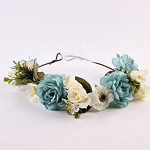 Forgun Flower Crown Headband Wedding Floral Hair Accessory Hairband Wreath Mommy & Kids 25