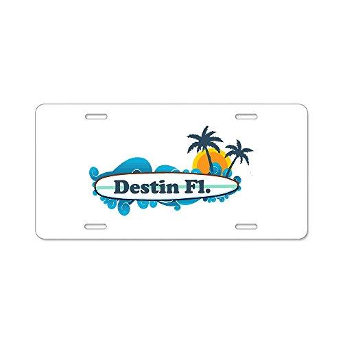 CafePress - Destin Florida - Surf Design. Aluminum License Pla - Aluminum License Plate, Front License Plate, Vanity Tag