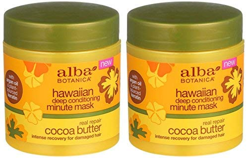 Hawaiian Real Repair Deep Conditioning Minute Mask Cocoa Butter (Pack of 2) With Sunflower Oil, Jojoba Oil, Cocoa, Shea Butter Pineapple, Mango and Cranberry, 5.5 oz. - Conditioner Alba Deep Botanica