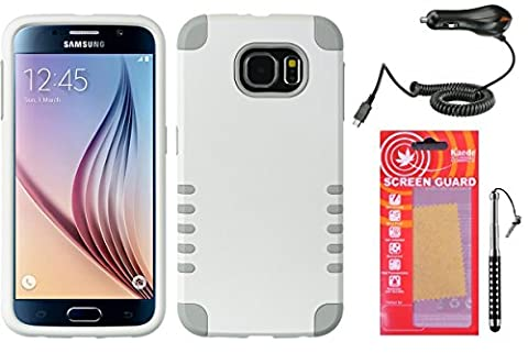 [White/Grey] Galaxy S6 Case [Hybrid Series] Textured Pattern Grip Cover [Shock Proof] Kaede® Cover [Screen Guard] Protector Diamond Stylus Pen Car Charger for Samsung Galaxy - Diamond Protector Faceplate