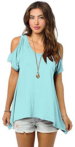 Urban CoCo Women's Vogue Shoulder Off Wide Hem Design Top Shirt - X-Large - Turquoise