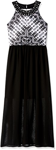 Amy Byer Big Girls' Print Bodice Maxi Dress, Pat for Black, 14 (Tween Party Dress)