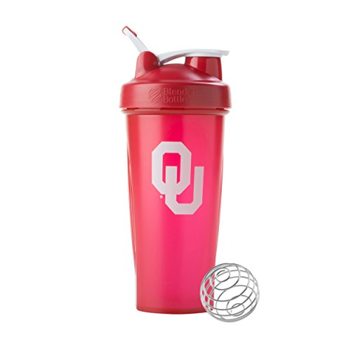 BlenderBottle Collegiate Classic 28-Ounce Shaker Bottle, Oklahoma University Sooners - Red/White