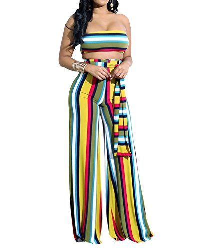 (Womens Two-Piece Romper Sexy Tie Dye Print Bandeau Top Flared Bell Bottom Pants Jumpsuit Outfits, Medium, Zig Striped Print)