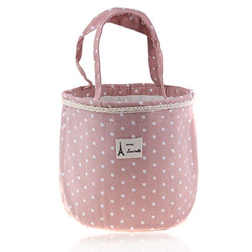 Sealike Insulated Lunch Bag Round Lunch Box Bag Cute Polka Dot Lace Design with Stylus Pink