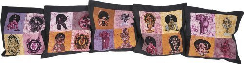Exotic India Lot of Five Batik Patchwork Cushion Covers with Hindu Deities by NA