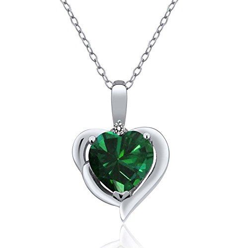 Gem Stone King 1.52 Ct Heart Shape Green Simulated Emerald White Diamond 925 Sterling Silver Pendant