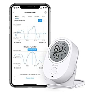 Govee WiFi Temperature Humidity Works with Alexa, Wireless Thermometer Hygrometer Temp Humidity Monitor with Alerts & Data Export for House Greenhouse Wine Cellar Cigar Humidor [Not Support 5G WiFi]