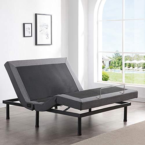 سرير قابل للتعديل الكلاسيكي ، سرير قابل للتعديل ، سرير قابل للتعديل مع مساج ، جهاز تحكم لاسلكي ، ثلاثة أرجل مرتفعة ، ومنافذ USB مريحة