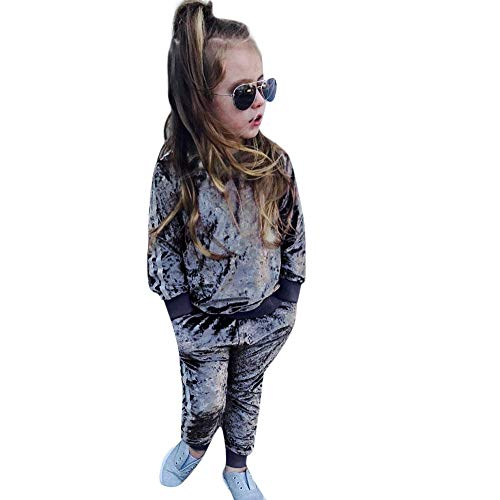 51591e5f8fb9 2018 Fashion Toddler Baby Girl Velvet Long Sleeve Sweatshirt Tops + Pants  Outfits Tracksuit Clothes Set