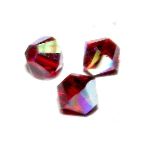 - 72 pcs Swarovski Crystal 5328 Xilion Bicone Bead Spacer Siam Red AB 4mm / Findings / Crystallized Element