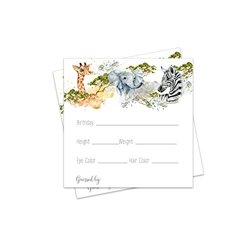 Jungle Predictions for Baby Shower Games Set of