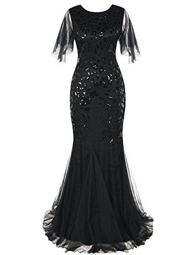 kayamiya Women's 1920s Maxi Long Prom Gowns Sequin Mermaid Hem Evening Dress with Sleeves