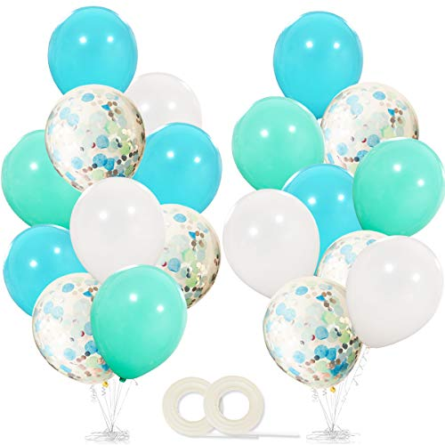 Frozen Birthday Party Supplies Balloons 40 Pack- 12 Inch White Light Aqua Blue Latex Balloons with Confetti Balloon for Baby Shower Winter Wonderland Party Decorations Christmas Party Favors