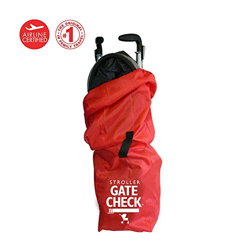 (J.L. Childress Gate Check Bag for Single Umbrella Strollers, Durable and Lightweight, Water-Resistant, Drawstring Closure with Adjustable Lock, Webbing Handle, Includes Stretch Zipper Pouch, Red)