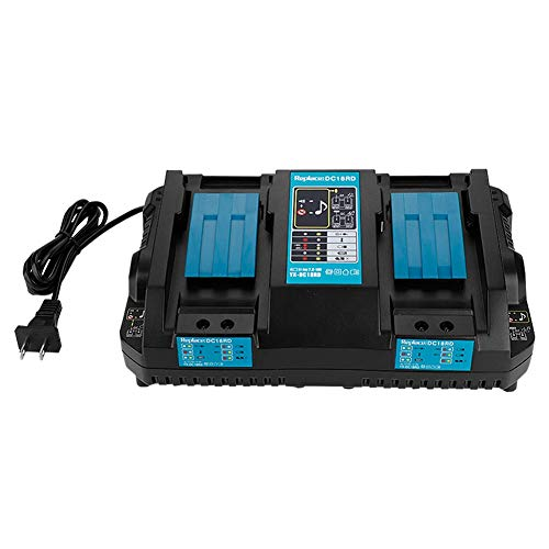 ASHATA 14.4V ~ 18V DC 4A Universal Intelligent Electric Tool Double Lithium Battery Fast Charger for Makita Power Tool Battery Voltage Range of 7.2V to 18V (us Plug)