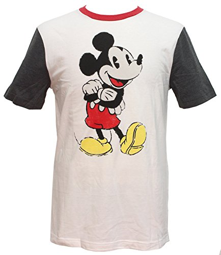 Disney Mickey Mouse Distressed Ringer Men's Heather T-Shirt (Large) -