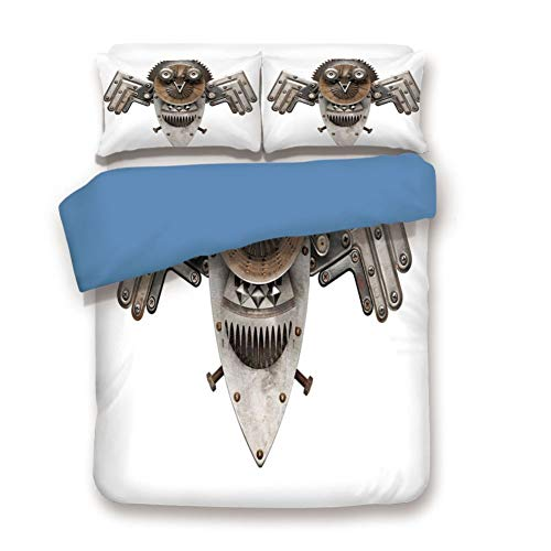 - Duvet Cover Set Twin Size, Decorative 3 Piece Bedding Set with 2 Pillow Shams, Stylized Collage with Owl Figure Cog Hardware Gear Machinery Animal Print Decorative