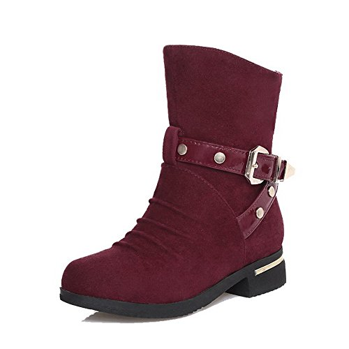 Allhqfashion Women's Solid Imitated Suede Low-Heels Pull-on Round Closed Toe Boots Claret vs2S38s