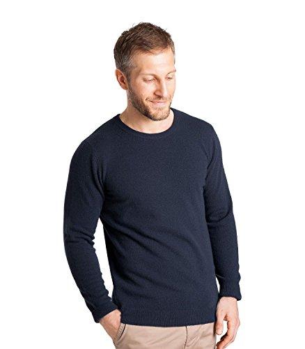 Washed Crewneck Sweater (WoolOvers Mens New Cashmere Crew Neck Sweater Washed Indigo, XXL)