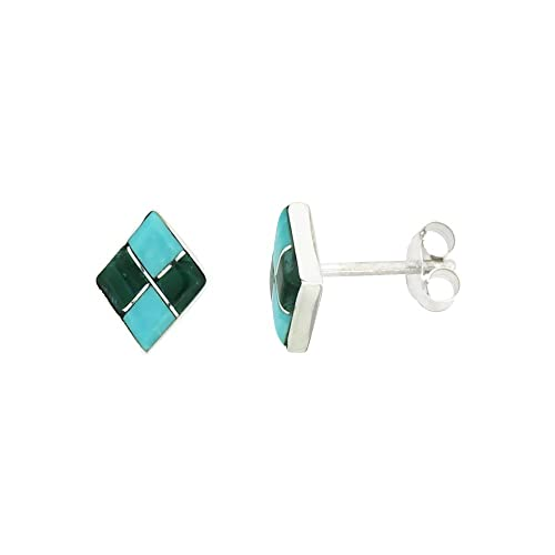 52f0d3270 Image Unavailable. Image not available for. Color: Sterling Silver  Handcrafted Blue Turquoise Diamond-shaped Stud Earrings (Genuine Zuni ...