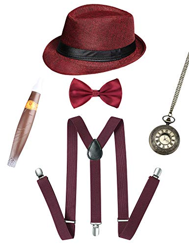 1920s Mens Gatsby Gangster Costume Accessories Set 30s Panama Hat Suspender (Wine Set A) -