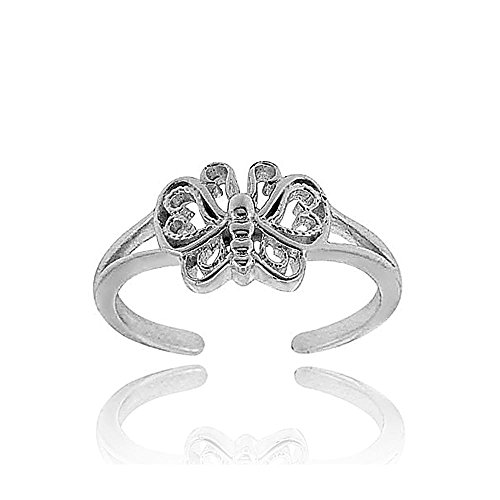 Hoops & Loops Sterling Silver Butterfly Toe (Butterfly Silver Toe Ring)