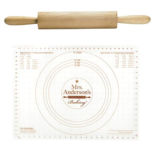 Mrs. Anderson's Baking Wooden Rolling Pin, German Beechwood with Steel Ball Bearings, 10-Inch by 2-Inch Bundled with Mrs. Anderson's Baking Non-Slip Pastry Rolling Mat, 18-Inch by 24-Inch