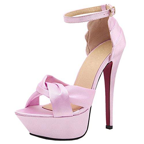 Harshiono Womens Satin Ladies Stilettos High Heel Open Toe Ankle Strap Sandals Shoes (US 8 / EU39, pink)