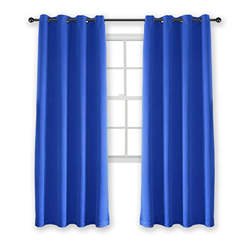 Kotile Royal Blue Curtains 84 Inch - Blackout Thermal Insulated Grommet Curtain for Kids Room 2 Panels, W52 x L84 Inches, 1 Pair (Bright Kids Curtains)