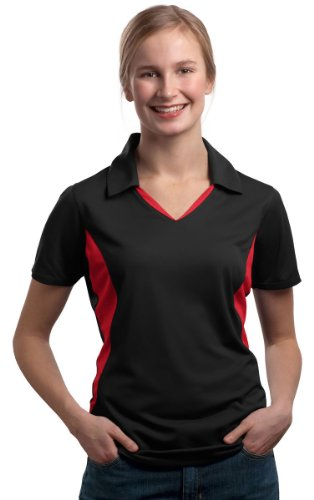 - Sport-Tek NEW Ladies Side Blocked Micropique Sport-Wick Sport Shirt, Black/Red, Small
