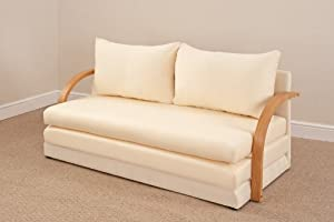 Fold out double foam sofa bed chloe natural for Sofa bed amazon uk