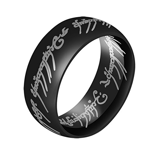 ERLUER Jewelry Lord of The Rings Ring for Men High Polish Black Plated Stainless Steel Men's Ring Wedding 8MM Bands -