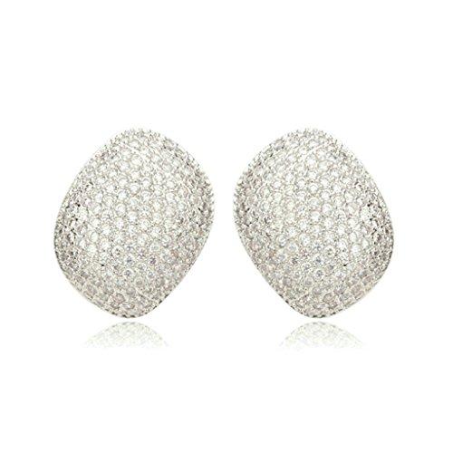 Daesar Gold Plated Earrings Womens Stud Earrings White Channel Cubic Zirconia Earring Irregular Earrings