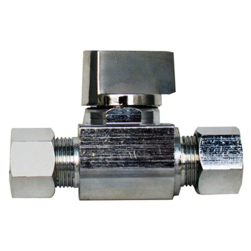 LASCO 06-9279 Straight Stop Quarter Turn Ball Valves, 3/8-Inch Compression Inlet X 3/8-Inch Compression Outlet, Chrome ()