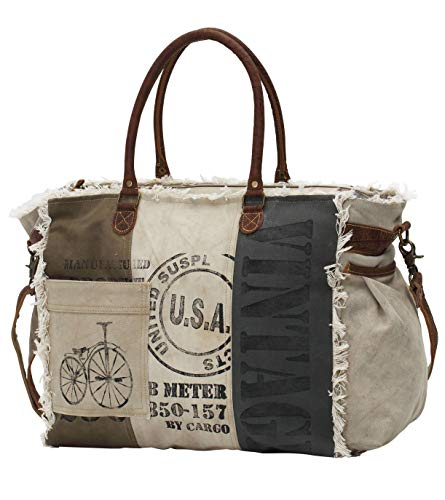 Myra Bags USA Stamped Upcycled Canvas Weekender Bag - Slip Myra